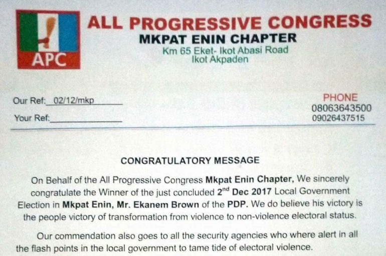 Akwa Ibom APC Congratulates Mkpat Enin Chairman-Elect